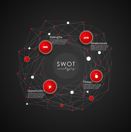 weaknesses: SWOT - (Strengths Weaknesses Opportunities Threats) business strategy mind map concept for presentations. Template with red circles and dots - dark version.