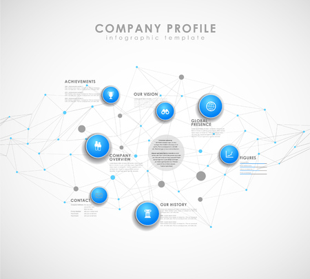 Company profile overview template with blue circles and dots - light version. Ilustrace