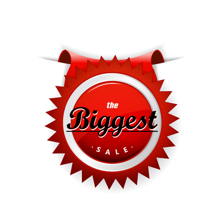 biggest: The Biggest Sale red badge sticked into paper sheet. Illustration
