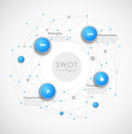 business mind: SWOT - (Strengths Weaknesses Opportunities Threats) business strategy mind map concept for presentations. Template with blue circles and dots - light version.