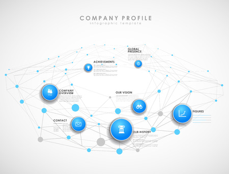 Company profile overview template with blue circles and dots - light version.