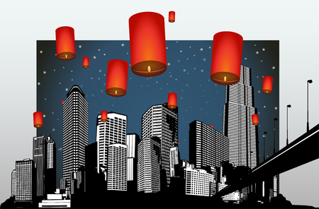 high angle view: Dark scenery of panorama cityscape placed with flying orange lanterns. Illustration