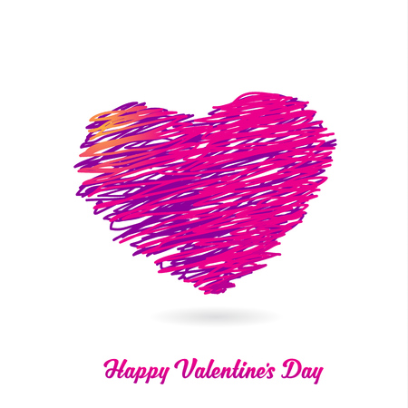 Valentine heart created from lines and Happy Valentines Day text.
