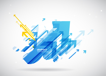 arrows background: Abstract blue, yellow arrows background wallpaper. Illustration