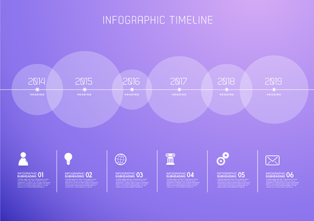 Infographic template with six circles and icons.