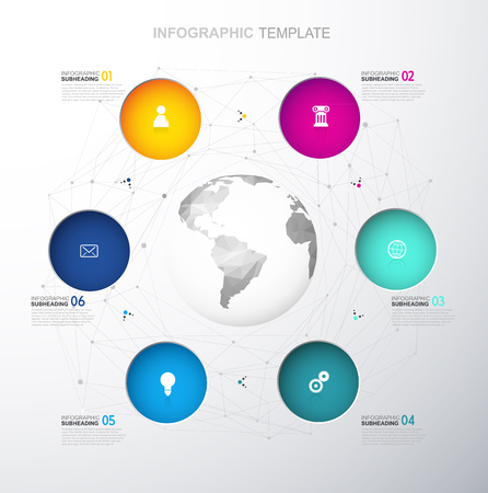 Infographic template with six colorful circles and icons line up around polygonal map - light version.
