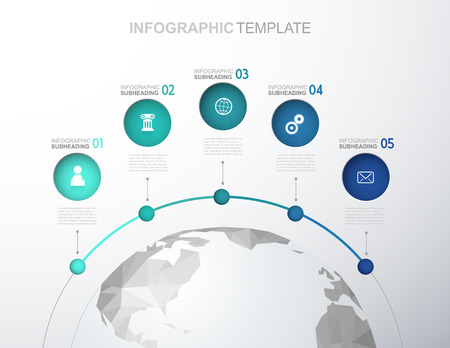 Infographic template with five circles, icons line up and polygonal map - light version. Ilustrace