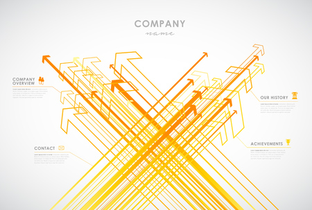 Company infographic overview design template with arrows and icons - light version. Illustration