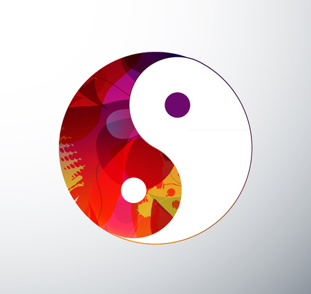 Yin Yang Symbol illustration created from abstract colorful objects. Illustration