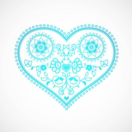 decor graphic: Heart shape ornament illustration for Valentines Day. Greeting card template.