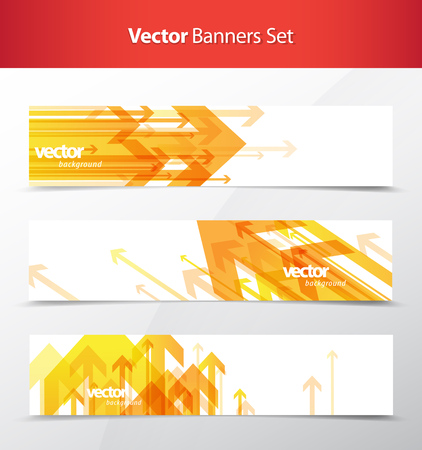 decor graphic: Three abstract orange arrows background banners.