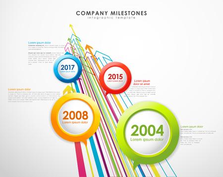 Infografik-Unternehmen Meilensteine ??Timeline-Vektor-Vorlage mit Pfeilen.