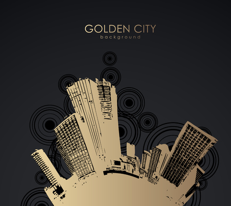 tall buildings: Golden cityscape with skyscrapers.