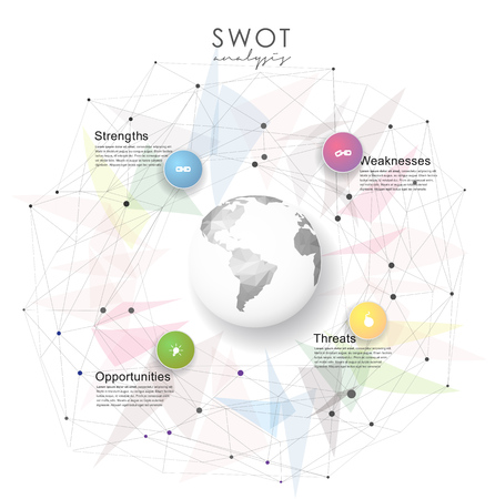business mind: SWOT - (Strengths Weaknesses Opportunities Threats) business strategy mind map concept for presentations. Template with blue circles, dots and polygonal globe - light version.