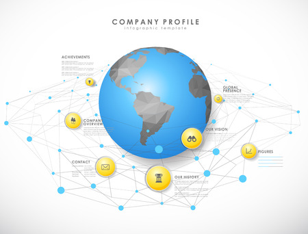 schema: Company profile overview template with yellow circles, dots and polygonal globe - light version. Illustration