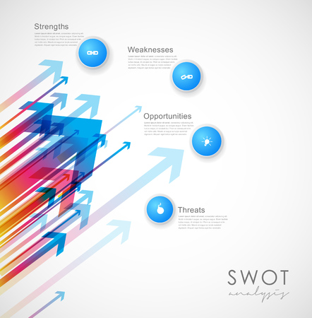 weaknesses: SWOT - (Strengths Weaknesses Opportunities Threats) business strategy mind map concept for presentations. Template with blue circles and arrows - light version. Illustration
