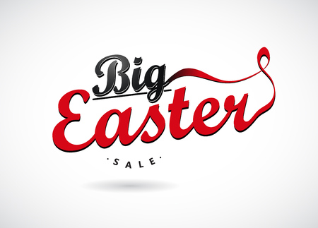 sale sticker: Easter sale labels with ribbons.