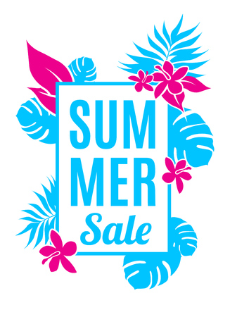eden: Summer sale background with leaves and flowers.