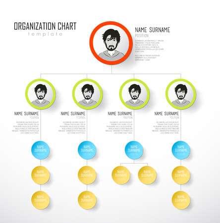 diagrama de arbol: Organization chart template with colorful circles and place for your text. Vectores