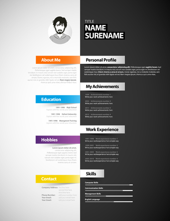 Creative cv template with paper stripes.