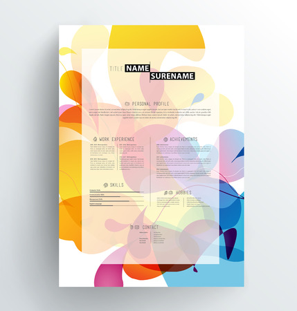 Creative, abstract colorful CV  resume template. Illustration