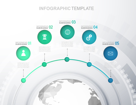 Infographic template with five circles, icons line up and polygonal map - light version. Illustration