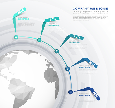 mile: Infographic startup mile stones timeline vector template. Illustration