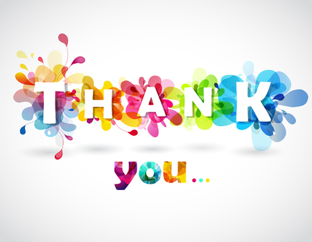 Thank you quotation with colorful abstract backgrounds behind each letters.
