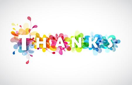 Grazie citazione con sfondi colorati astratti dietro ogni lettera.