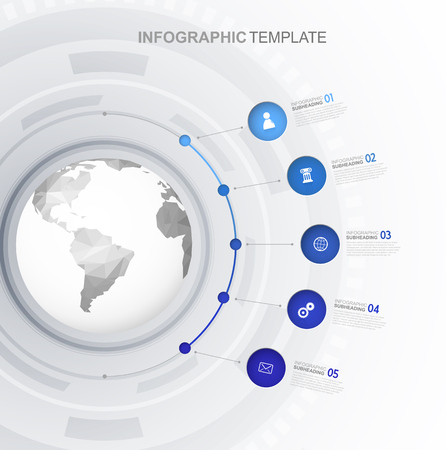 beside: Infographic template with five circles and icons line up beside polygonal map - light version. Illustration