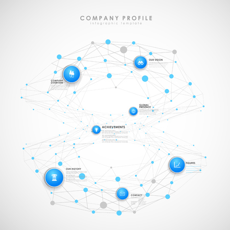 version: Company profile overview template with blue circles and dots - light version. Illustration