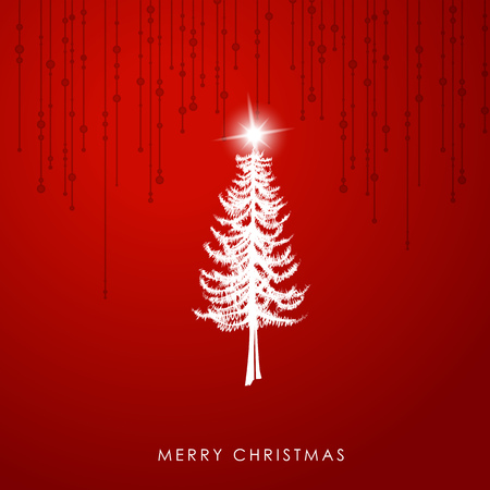 christmas tree illustration: Christmas illustration greeting card template with pine Christmas tree and star at the top on red background.