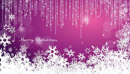 눈송이 및 간단한 메리 크리스마스 텍스트와 어두운 크리스마스 배경 - 와이드 앵글 버전 일러스트