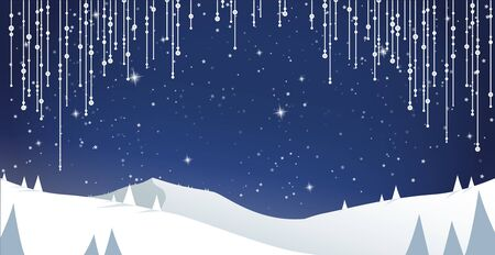 Winter mountain landscape scenery with pine trees and stars.