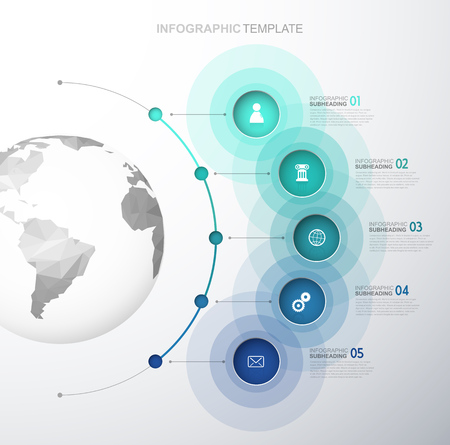 Infographic template with five circles and icons line up beside polygonal map - light version. Ilustrace