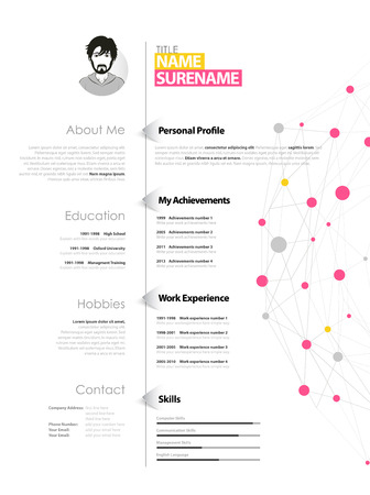 Creative simple cv template with yellow and pink circles and dots on web.