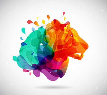 Abstract colored background with shapes reminding lions head.