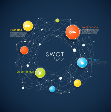 SWOT - (Strengths Weaknesses Opportunities Threats) business strategy mind map concept for presentations. Template with blue circles and dots - dark version.