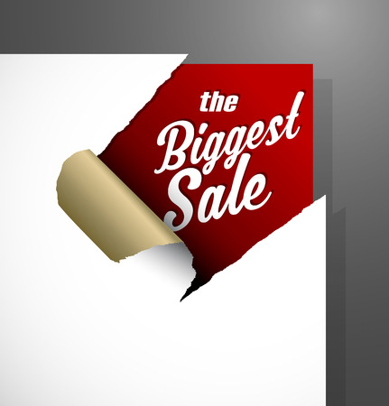 The Biggest Sale text uncovered from teared paper corner.