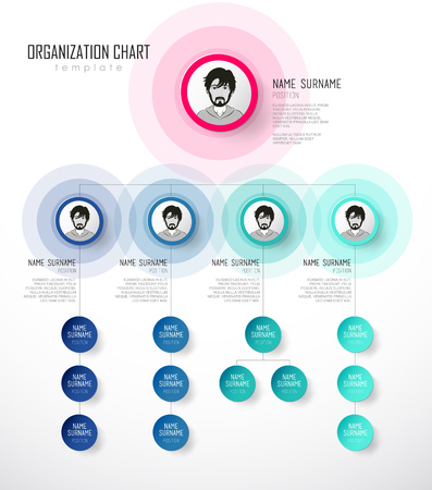 Organization chart template with colorful circles and place for your text. Vector Illustration