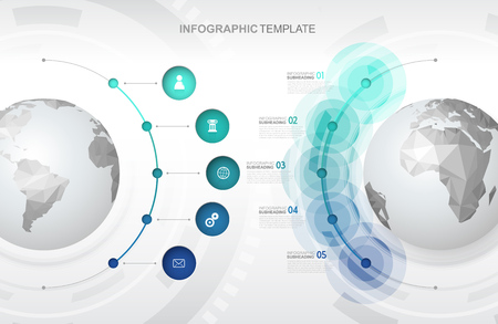 Infographic template with five circles and icons line up beside polygonal maps - light version. 向量圖像