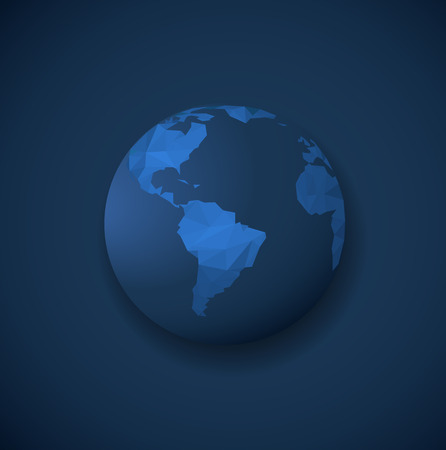 Polygonal globe template on dark blue background.