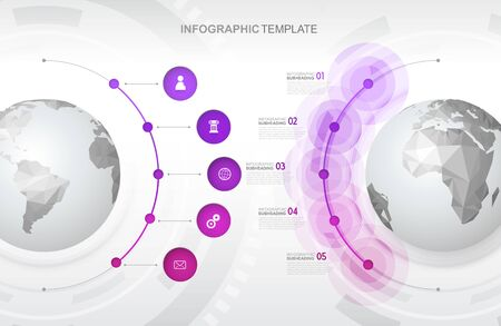 Infographic template with five circles and icons line up beside polygonal maps - light version. Ilustrace