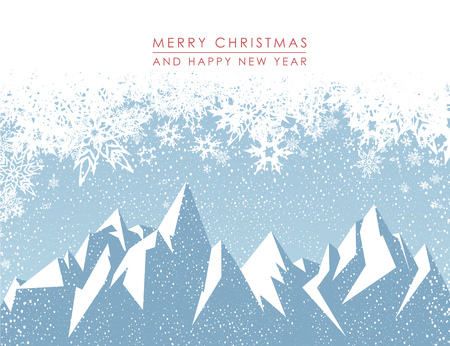 antarctica: Winter mountain landscape scenery with Merry Christmas. Illustration