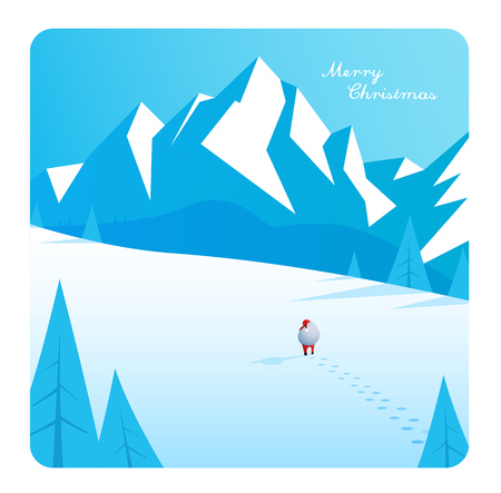 Winter mountain landscape scenery, walking Santa Claus with his bag full of presents in deep snow with pine trees surrounded and blue sky. Illustration