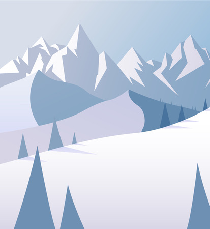 Winter mountain scenery with pine trees and snowy hills.