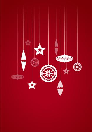 Hanging Christmas decoration on red illustration. Illustration