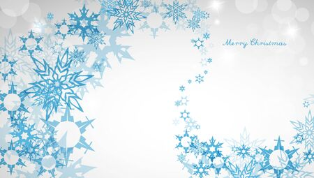 Christmas light background with blue snowflakes and Merry Christmas text - light version