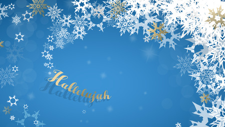 Hallelujah with lots of snowflakes on blue background.