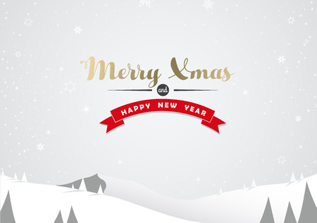 Winter mountain landscape scenery and Merry Xmas text with pine trees and stars.